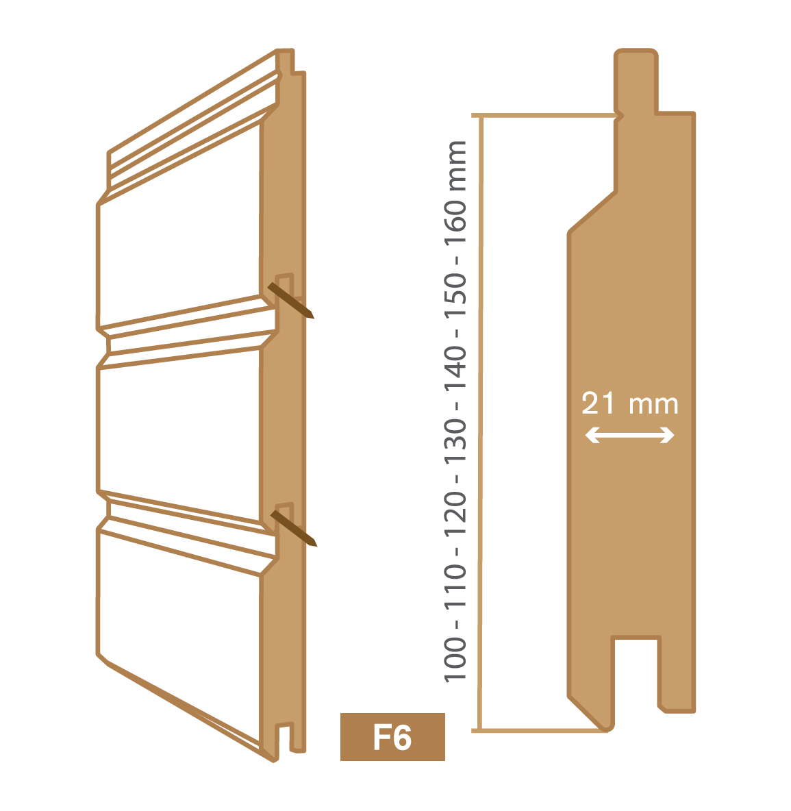 wooden cladding f6 type
